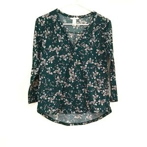 H&M Floral Pop Over Blouse Long Sleeve